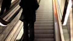 Moving stairs  underground station people traveling Stock Footage