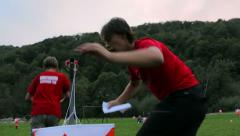 Young people have sports recreation at camp playground in the ethno village - stock footage