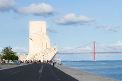 embankment of river Tagus, Lisbon, Portugal - stock photo