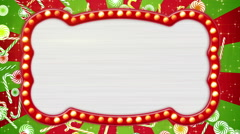 Flash light bulbs banner and christmas candy canes loop Stock Footage