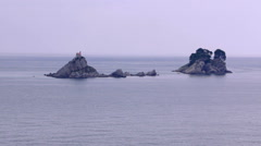 Two islands Katic and Sveta Nedjelja in Adriatic Sea in the Montenegro Stock Footage