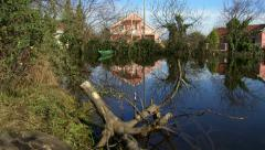 Houses in flooded areas - stock footage