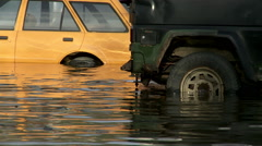 Cars in the flooded area Stock Footage
