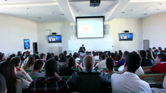 Students listen a lecture at the university - slider shoot Stock Footage