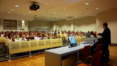 Students listen a lecture at the university - slider shoot - stock footage