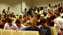 Pupils in the classroom before the start of classes- slider shoot Stock Footage