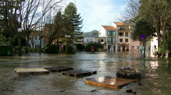 Consequences of flooding in urban areas - stock footage