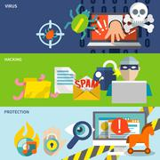 Hacker icons flat banner set Stock Illustration