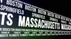 Massachusetts State and Major Cities Scrolling Banner Stock Footage