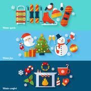 Winter banners set - stock illustration