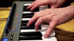 Synthesizer performer, live show playing keyboards Stock Footage