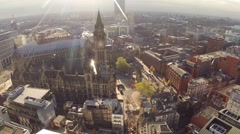 Manchester UK Aerial landscape, panning motion city center Stock Footage