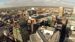 Manchester UK Aerial city landscape, panning motion Stock Footage