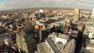 Manchester UK Aerial city landscape, panning motion - stock footage