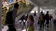 Children on the hallway in the elementary school - stock footage
