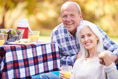 Senior couple enjoying camping holiday in countryside Stock Photos