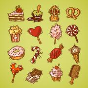 Sweets sketch icon set color - stock illustration