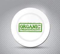 organic fresh and healthy sign on a plate - stock illustration