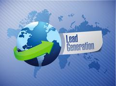Lead generation globe sign illustration Stock Illustration