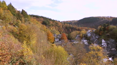 View of the small German town Monschau. Stock Footage