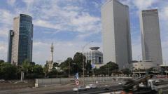 Real time tel aviv city . road traffic. israel Stock Footage