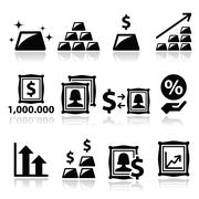 Alternative investments - investing money in gold and art icons - stock illustration