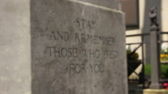war memorial - remembrance quote - stock footage