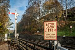 railway warning sign - stock photo