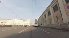 Police closed roads around Kremlin preparing to communist parade Stock Footage