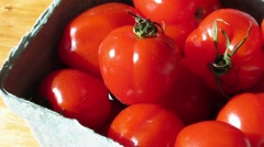 Two green containers of fresh red strawberry tomatoes 1250 Stock Footage