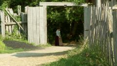 Residents in Costume Walk Into Plimoth Plantation Stock Footage