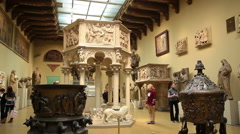 Visitors admire the works of art at the Pushkin Museum of Fine Arts - stock footage