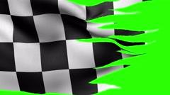 Checkered flag racing alpha Stock Footage