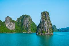 Rock islands in Halong bay - stock photo