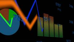 Growing Financial Charts  Stock Footage