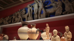 Exhibits in the hall of ancient history at the Pushkin Museum of Fine Arts. Stock Footage