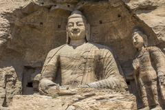 Buddha statues Yungang Grotto China Asia - stock photo