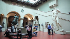 Visitors admire the sculptures in the Pushkin Museum of Fine Arts in Moscow. Stock Footage