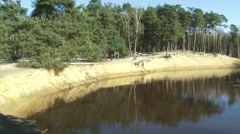 Steep sandy slope at the bank of the Dinkel river + pan river course Stock Footage