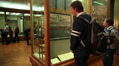 Visitors admire the works of art in the Museum of Oriental Art in Moscow. Stock Footage