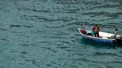 Greenland Prince Christian Sound 043 citizens from Aappilattoq village in a boat Stock Footage
