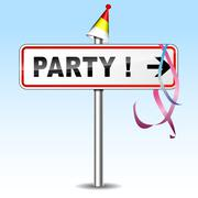 party directional sign - stock illustration