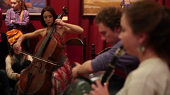 Musicians perform ethnic music in the Museum Stock Footage
