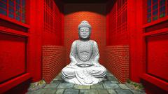 Buddha statue in temple - stock illustration