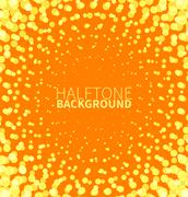 Abstract orange halftone background with yellow dots Stock Illustration