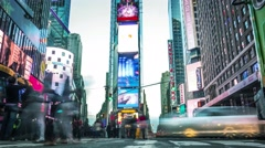 Times Square from day to night. Time lapse.  Stock Footage