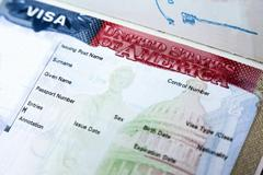 passport with usa visa - stock photo