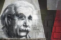Albert einstein graffiti on the wall in opatija angiolina park. Stock Photos