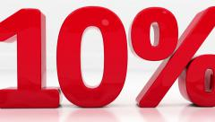 "Red ""10%"" pass through the screen, very close up Stock Footage"