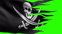 Pirate flag alpha Stock Footage
